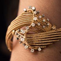 Bracelet fils d\'or et diamants