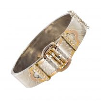 Bracelet jonc ancien argent motif ceinture