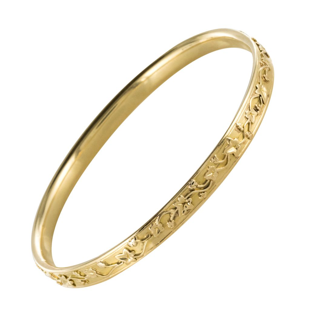 Bracelet jonc ancien or feuilles de lierre