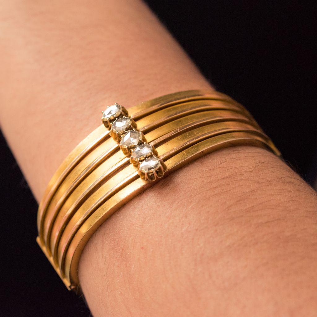 Bracelet jonc ancien or mat et diamants taillés en rose