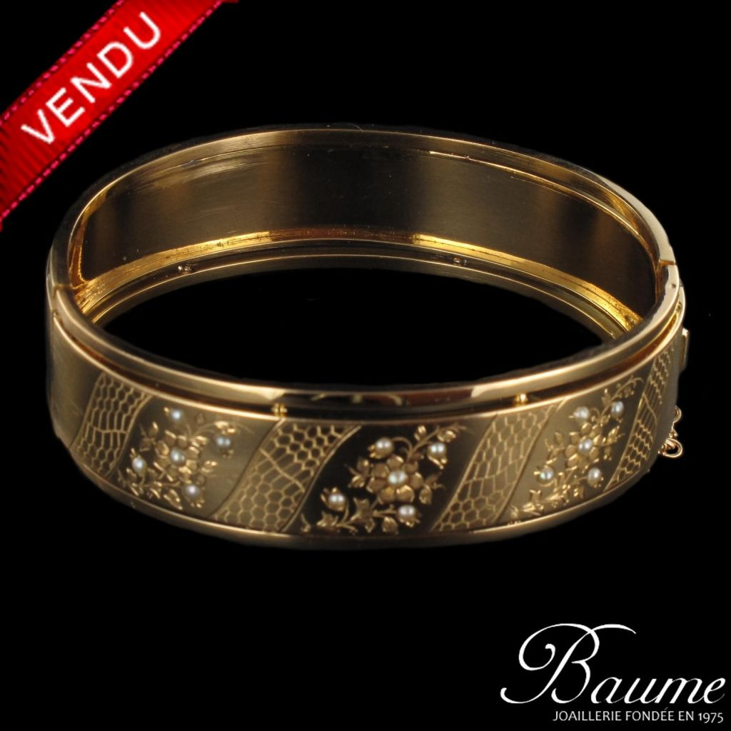 Bracelet jonc ancien Perles Fines