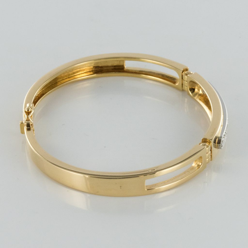 Bracelet jonc articulé ligne de diamants