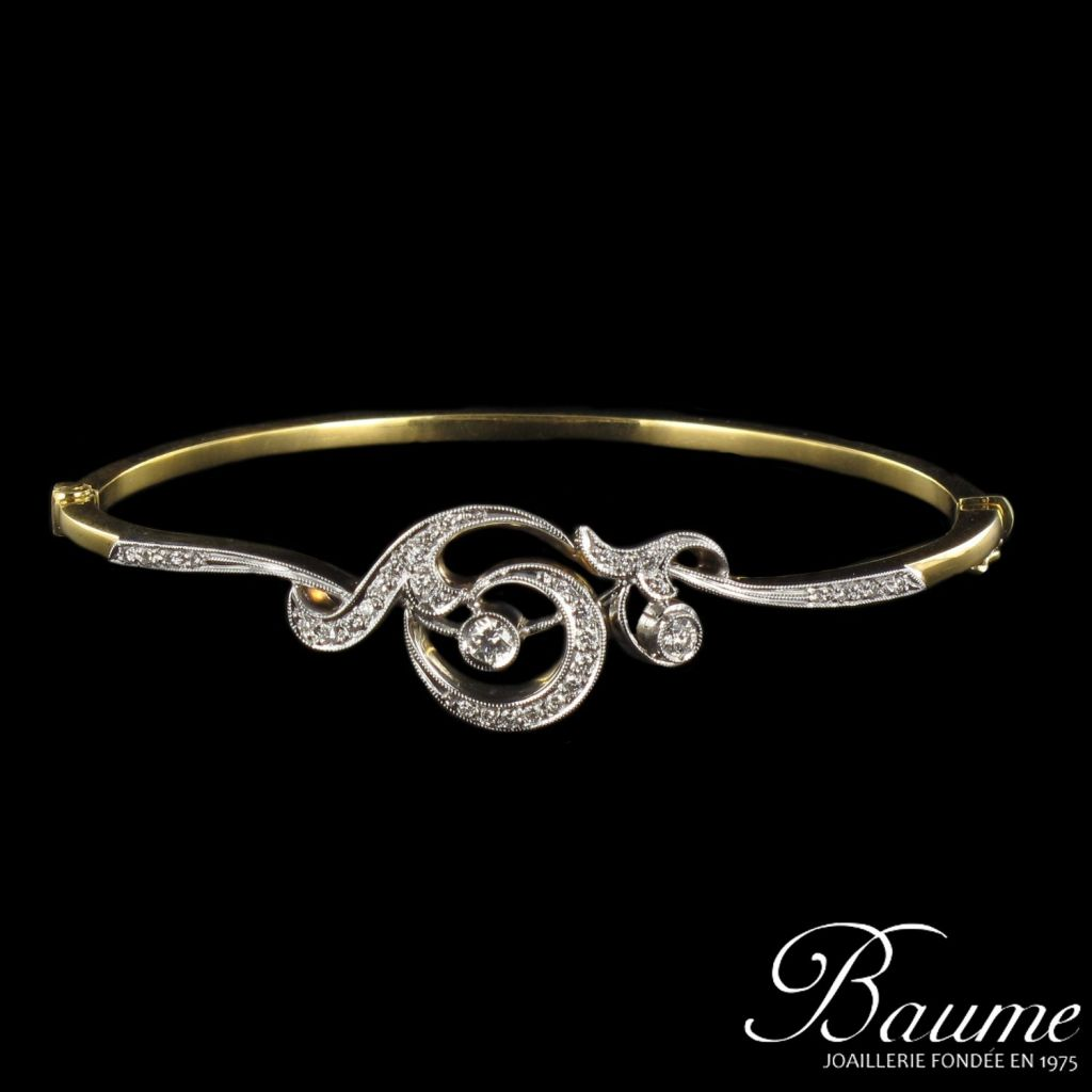 Bracelet jonc motif diamants