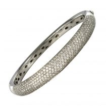 Bracelet jonc or blanc diamants