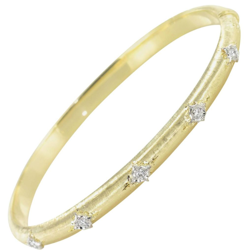 Bracelet jonc or jaune diamants satiné
