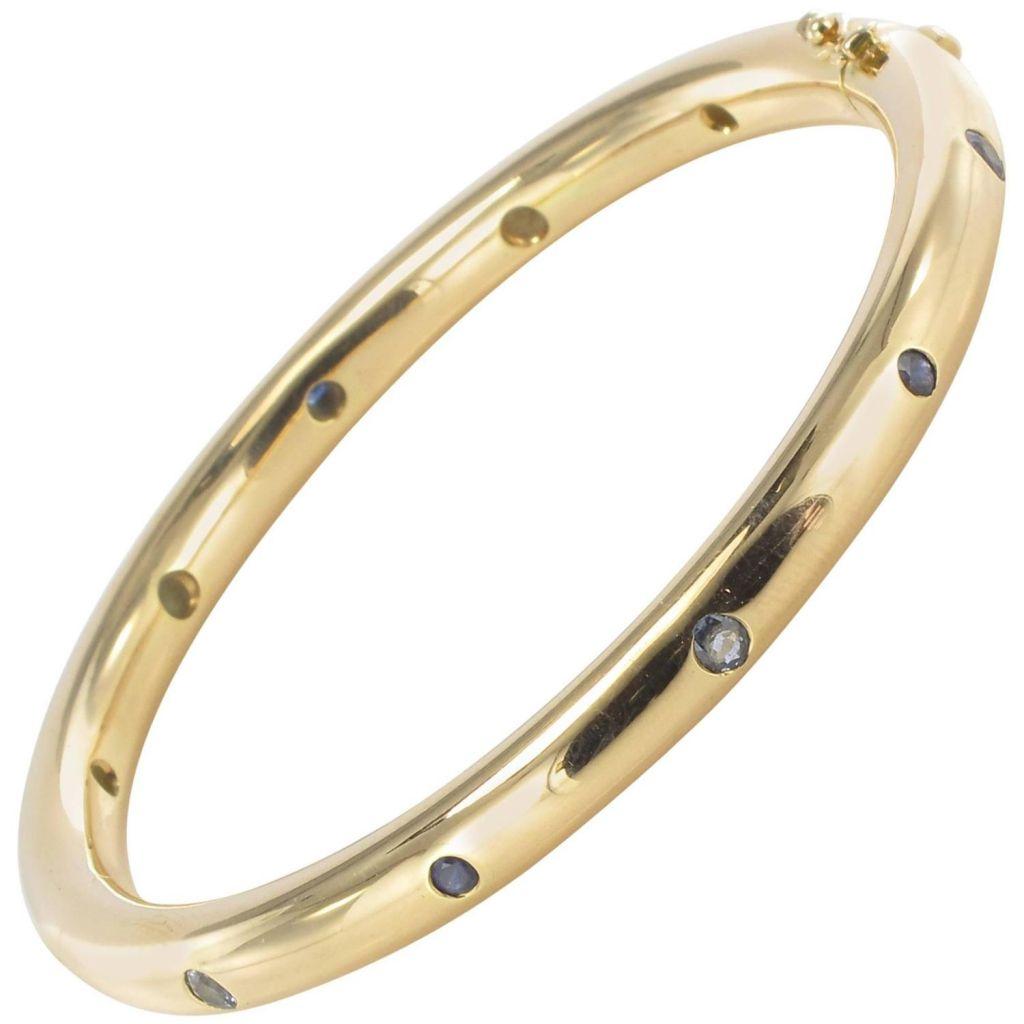 Bracelet jonc or rose et saphirs