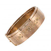 Bracelet jonc or rose perles fines