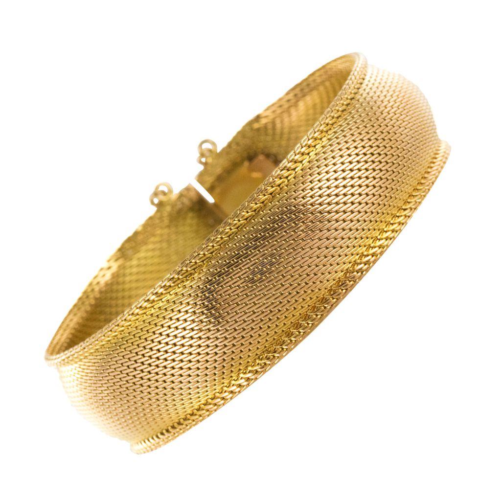 Bracelet jonc or tissé