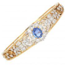 Bracelet jonc ouvrant en or et platine saphir diamants