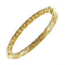 Bracelet jonc ovale or texturé