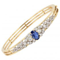 Bracelet jonc saphir diamants or