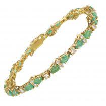Bracelet ligne de diamants et émeraudes
