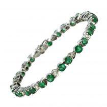 Bracelet ligne émeraudes diamants