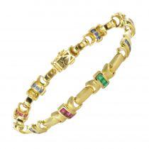 Bracelet ligne or rubis saphir émeraude