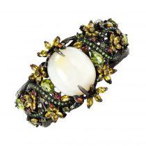 Bracelet manchette argent rhodié noir opale et pierres précieuses