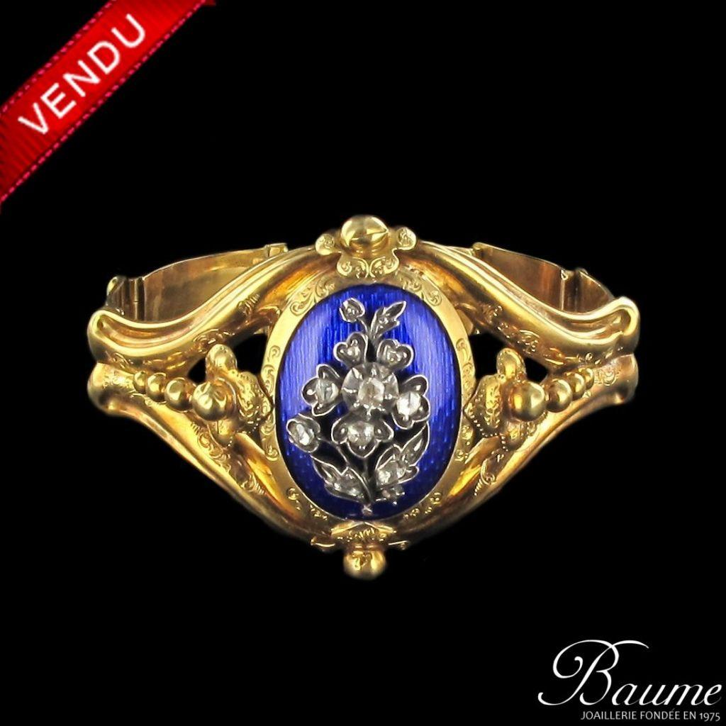Bracelet Napoléon 3 émail bleu et diamants