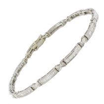 Bracelet or blanc diamants baguettes et brillants
