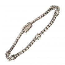 Bracelet or blanc diamants ligne