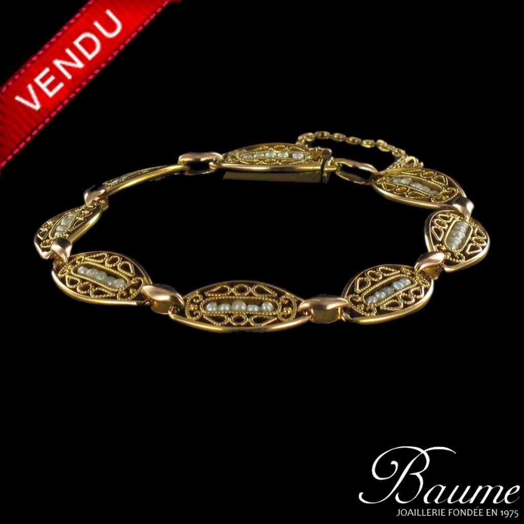 Bracelet or et perles fines