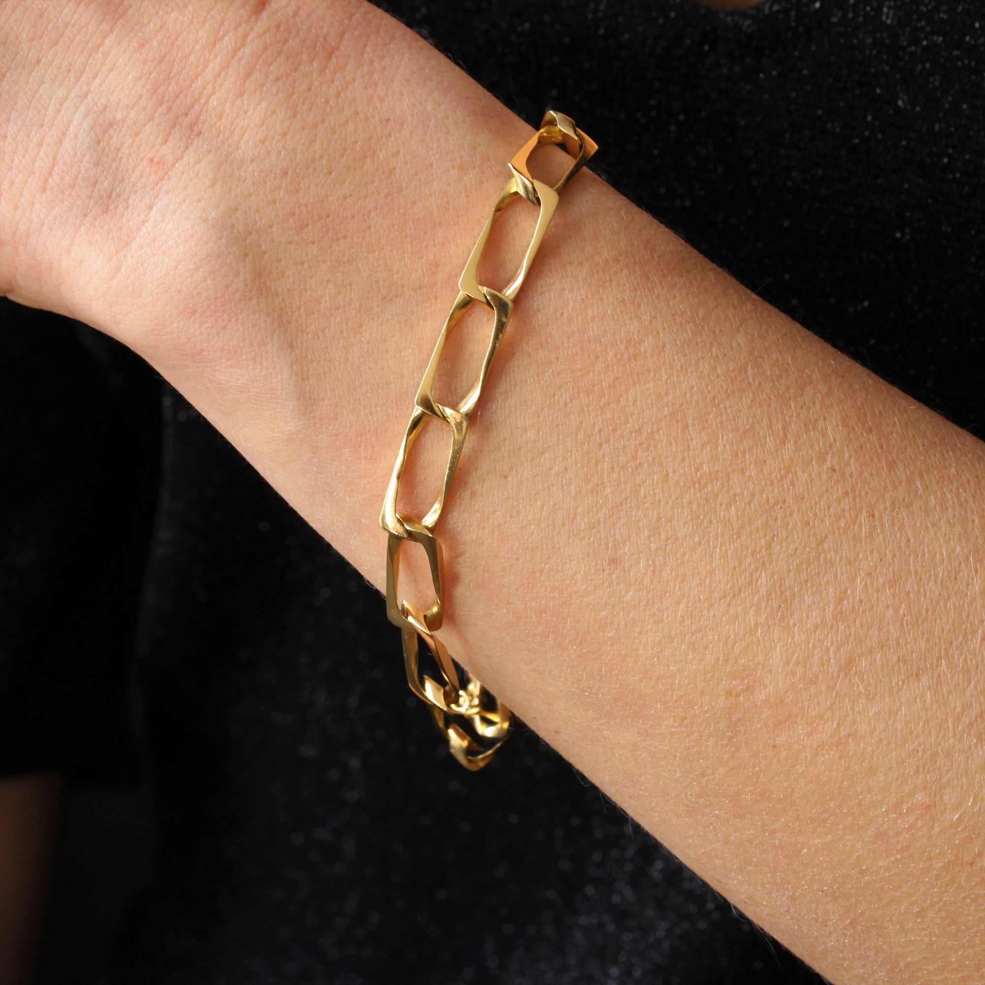 Bracelet or jaune gourmette maillons rectangulaires