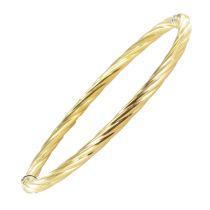 Bracelet or jaune jonc torsadé texturé