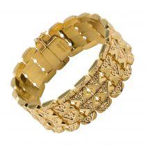 Bracelet or jaune motifs V et fleurs