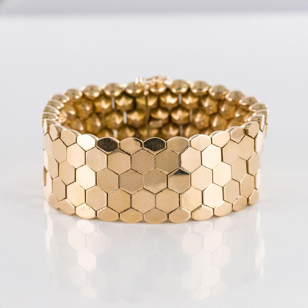 Bracelet or jaune nids d\'abeilles