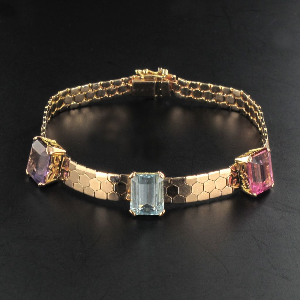 Bracelet or rose améthyste aigue marine tourmaline