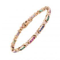 Bracelet or rubis émeraudes saphirs diamants