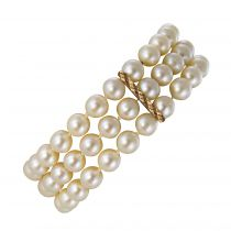 Bracelet perles 3 rangs et or