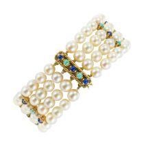 Bracelet perles de culture lapis lazuli et turquoises