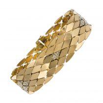 Bracelet rétro or maille écailles