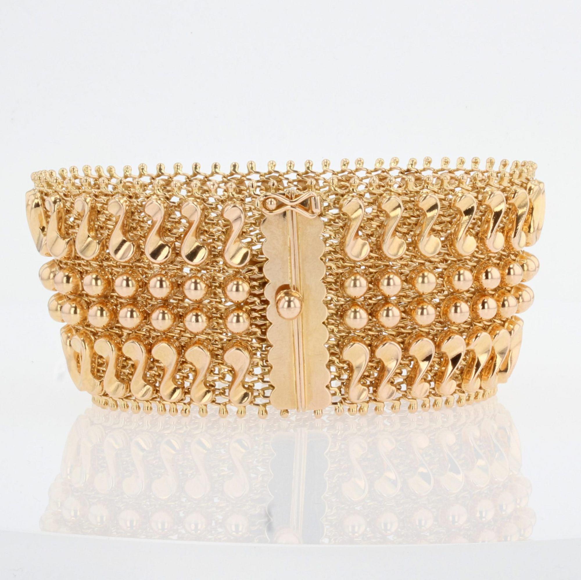 Bracelet rétro or souple tissé