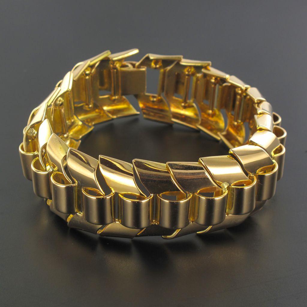 Bracelet tank or maille épi articulée