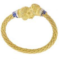 Bracelet têtes de lion torsadé