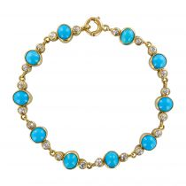 Bracelet turquoises et diamants ancien