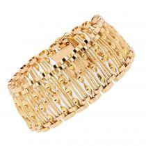 Bracelet vintage ajouré de fils et torsade d\'or