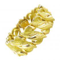 Bracelet vintage en or motifs feuilles