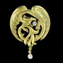 Broche - Pendentif chimère diamant perle