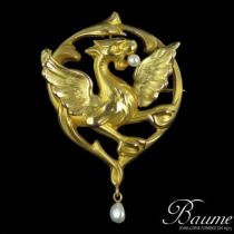 Broche - Pendentif Chimère en Or et Perles