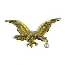 Broche -pendentif porte montre aigle Or et Perle