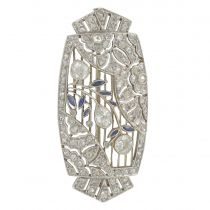 Broche ancienne art déco diamants saphirs