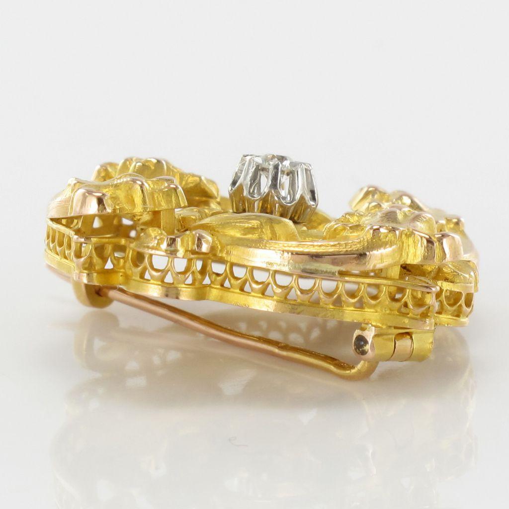 Broche ancienne art nouveau diamant