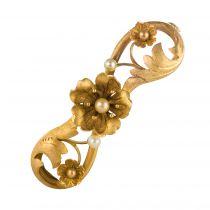 Broche ancienne art nouveau or satiné et perles fines