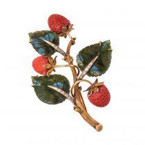 Broche ancienne branche de fraisier