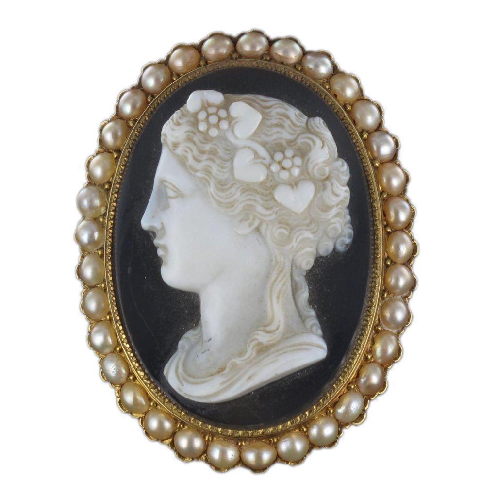Broche ancienne camée et perles fines