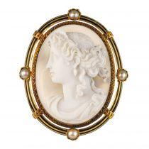 Broche ancienne Camée sur Agate et Perles fines