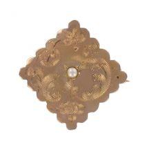 Broche ancienne de col or rose ciselée losange