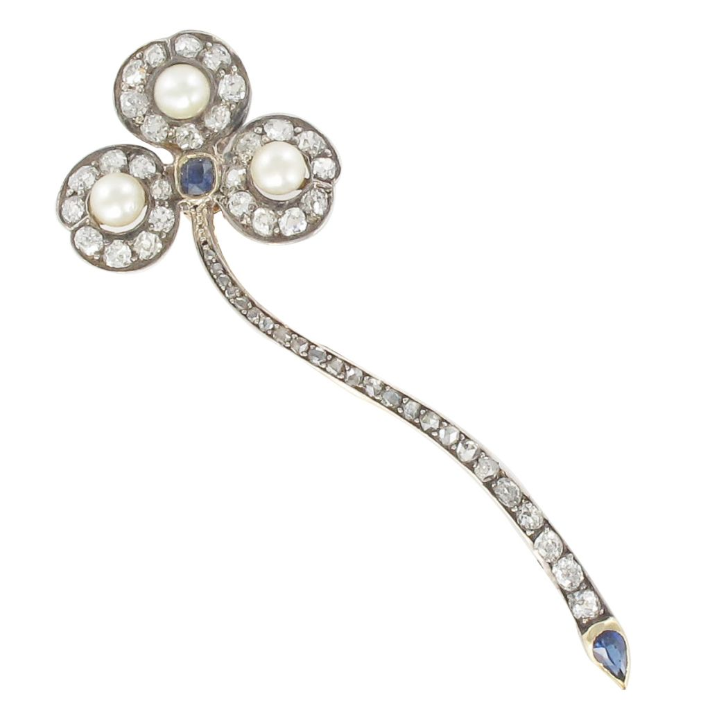 Broche ancienne diamants, perles et saphirs