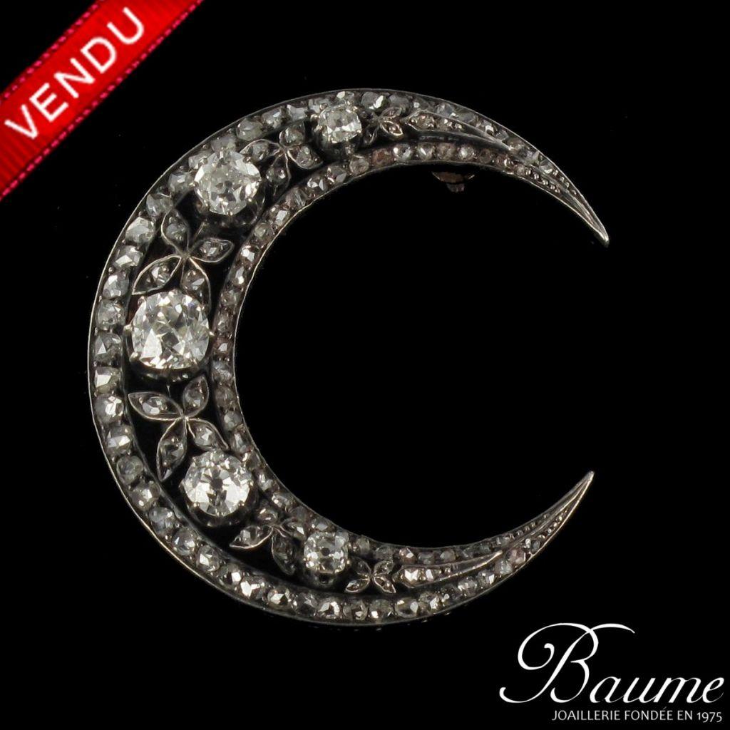 Broche ancienne Diamants Croissant de Lune